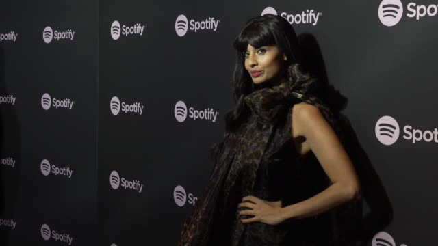 jameela jamil at the spotify's best new artist 2019 party at hammer museum on february 7, 2019 in los angeles, california. - spotify stock videos & royalty-free footage