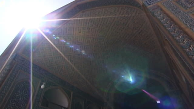 jameh mosque. low-angle view of the tiled and vaulted iwan of the 12th century jameh mosque. the mosque is a fine specimen of the azari style of... - yazd province stock videos & royalty-free footage