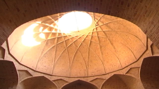 jameh mosque. view of the interior of the dome of the 12th century jameh mosque. the mosque is a fine specimen of the azari style of architecture. - circa 12th century stock videos & royalty-free footage