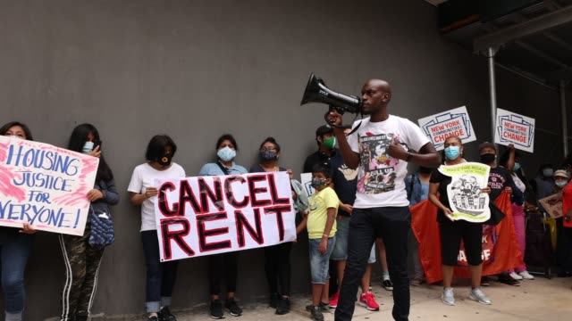 jamell henderson gives a speech as people gather at brooklyn housing court during a 'no evictions, no police' national day of action on september 01,... - housing difficulties stock videos & royalty-free footage