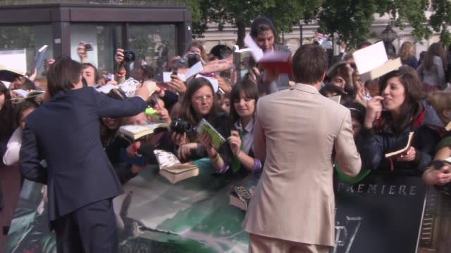 james and oliver phelps at the harry potter and the deathly hallows part two world premiere at london england - oliver phelps stock videos & royalty-free footage