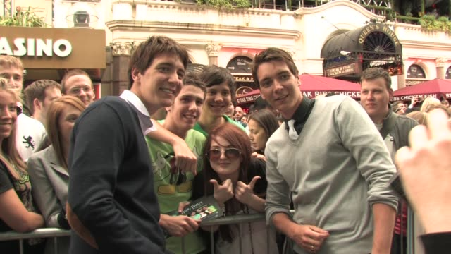 james and oliver phelps at the harry potter and the half blood prince experience launch at london england - oliver phelps stock videos & royalty-free footage