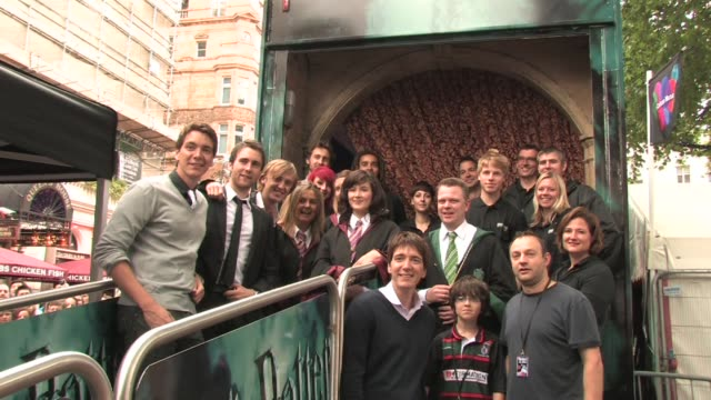 james and oliver phelps matthew lewis tom felton and harry potter experience workers at the harry potter and the half blood prince experience launch... - oliver phelps stock videos & royalty-free footage