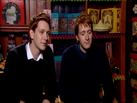 james and oliver phelps on how it's a pleasure coming into work every day and how you can't take it for granted being in this franchise at the harry... - oliver phelps stock videos & royalty-free footage