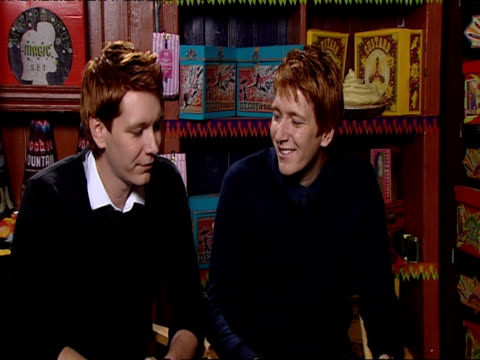 james and oliver phelps on how they've become much more confident by being cast in the harry potter movies on how it's been a rollercoaster ride at... - oliver phelps stock videos & royalty-free footage