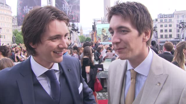 james and oliver phelps on sharing the experience sadness the premiere and more at the harry potter and the deathly hallows part two world premiere... - oliver phelps stock videos & royalty-free footage