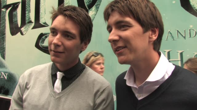 james and oliver phelps on what's happening in the halfblood prince on the films getting much darker on working together as twins on what fred and... - oliver phelps stock videos & royalty-free footage