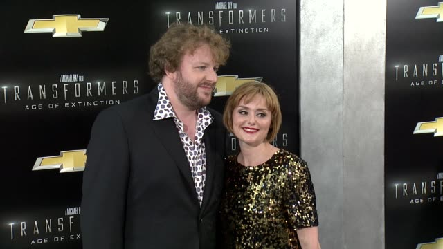 """james bachman and guest at """"transformers: age of extinction"""" new york premiere at ziegfeld theatre on june 25, 2014 in new york city. - new age stock videos & royalty-free footage"""