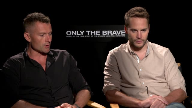 interview james badge dale and taylor kitsch on what if anything they knew about the hotshots and what these firefighters do before they worked on... - only the brave 2017 film stock videos & royalty-free footage