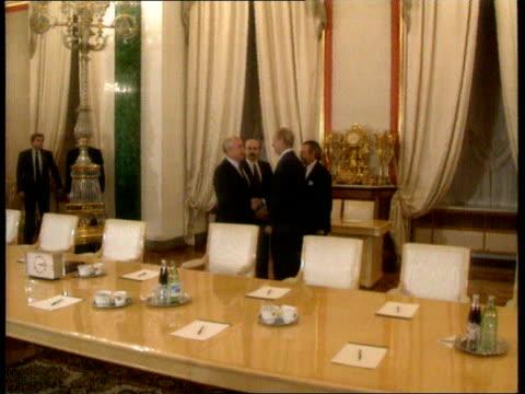 James Baker visits Mikhail Gorbachev and Boris Yeltsin ITN Moscow Kremlin St Catherine's Hall TCMS Soviet Pres Mikhail Gorbachev and others across...