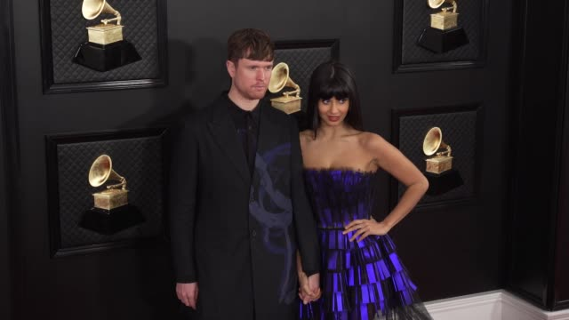 james blake and jameela jamil at the 62nd annual grammy awards arrivals at staples center on january 26 2020 in los angeles california - grammy awards stock videos & royalty-free footage