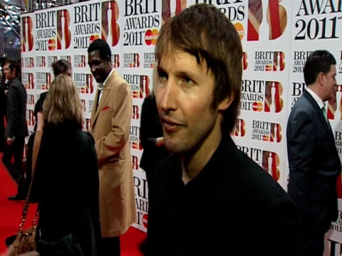 James Blunt on the BRITS UK talent British music and more at the Brit Awards 2011 at London England