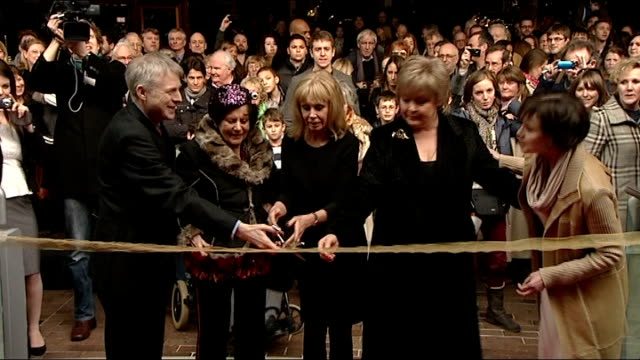 general views / britt ekland photocall and interview ** beware britt ekland surrounded by press and others as wait for official opening of exhbition... - bond girl fictional character stock videos & royalty-free footage