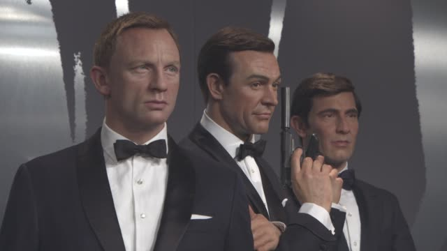 james bond figures at madame tussauds at madame tussauds london on october 20 2015 in london england - james bond stock videos & royalty-free footage