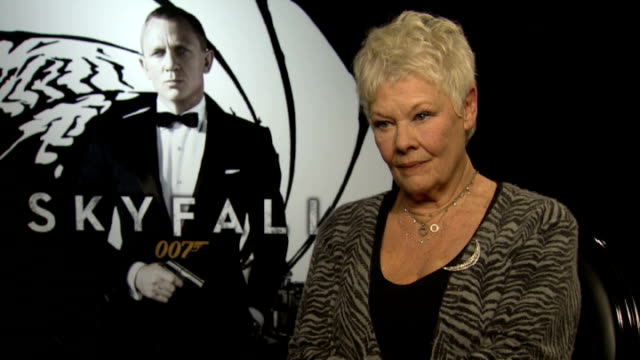 james bond film 'skyfall' sam mendes and dame judi dench interviews dame judi dench interview sot on the timing of the film release / proud to be... - skyfall stock videos and b-roll footage