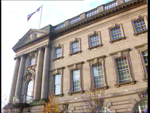 james bulger murder trial continues at preston crown court preston ms front of preston crown court pan lr - crown headwear stock videos & royalty-free footage