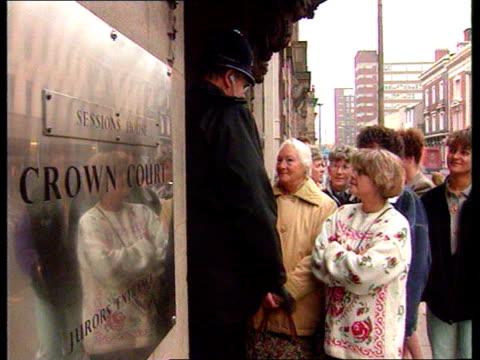 Lancashire Preston Preston Crown Court EXT AV People queue for public gallery