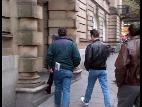 Lancashire Preston Preston Crown Court EXT LMS Old woman and old man out of van and into court PAN RL MS Ralph Bulger into court as past police van...