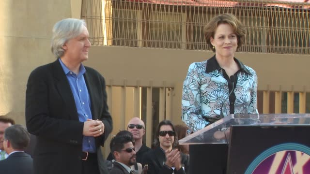 james cameron and sigourney weaver at the james cameron honored with a star on the hollywood walk of fame at hollywood ca - sigourney weaver stock videos & royalty-free footage