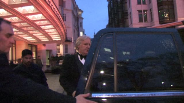 james cameron arrives at the dorchester hotel in london england. - dorchester hotel stock videos & royalty-free footage