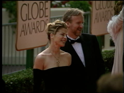james cameron at the 1998 golden globe awards at the beverly hilton in beverly hills, california on january 18, 1998. - golden globe awards stock videos & royalty-free footage
