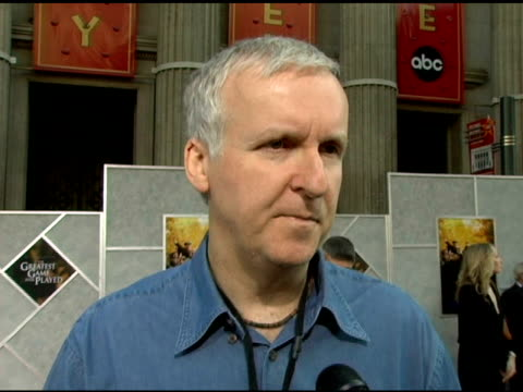 vidéos et rushes de james cameron on being at the premiere to testify for the film, the making of titanic being the greatest game ever played and on his 3-d film coming... - titanic