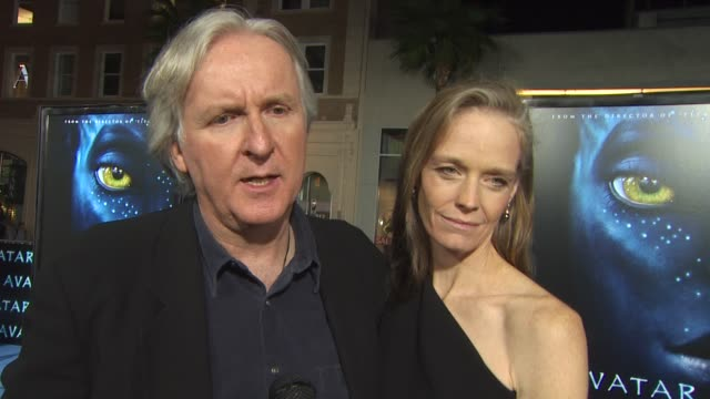 james cameron on the romantic story line, why the film took 15 years to bring to the screen at the 'avatar' premiere at hollywood ca. - james cameron stock videos & royalty-free footage