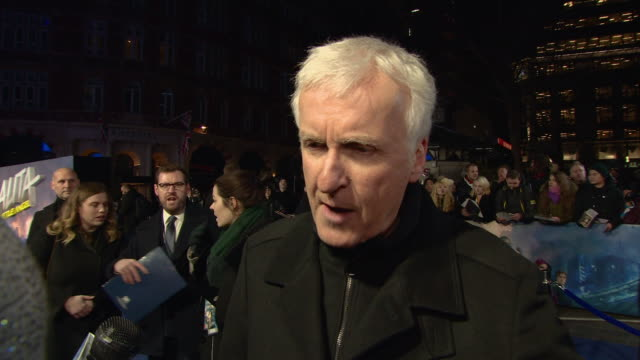 james cameron, producer, on if he was frustrated at the 20 year wait to bring the film onto screens and on the appeal of manga and making films for... - james cameron stock videos & royalty-free footage