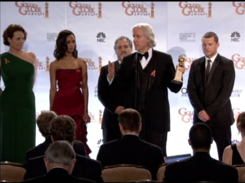 james cameron, sam worthington and the crew of avatar at the 67th annual golden globe awards - press room at beverly hills ca. - james cameron stock videos & royalty-free footage