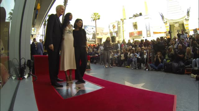 james cameron, zoe saldana and mila kunis at the zoe saldana honored with a star on the hollywood walk of fame on may 03, 2018 in hollywood,... - james cameron stock videos & royalty-free footage