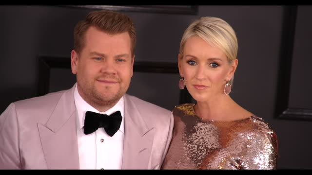 James Corden and Julia Carey at 59th Annual Grammy Awards Arrivals at Staples Center on February 12 2017 in Los Angeles California 4K