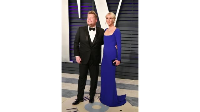 james corden and julia carey attend the 2019 vanity fair oscar party hosted by radhika jones at wallis annenberg center for the performing arts on... - vanity fair stock videos and b-roll footage