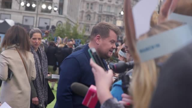 James Corden Daisy Ridley Elizabeth Debicki and director Will Gluck attend the UK premiere of Peter Rabbit
