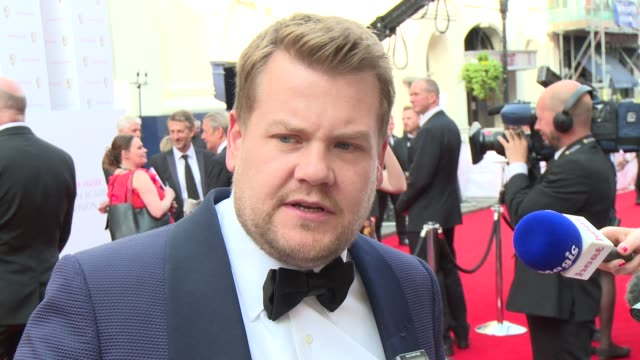 stockvideo's en b-roll-footage met interview james corden on his success and the late late show at house of fraser british academy television awards - bafta awards