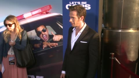"""james d'arcy at """"let's be cops"""" los angeles premiere at arclight cinemas cinerama dome on august 07, 2014 in hollywood, california. - cinerama dome hollywood stock-videos und b-roll-filmmaterial"""