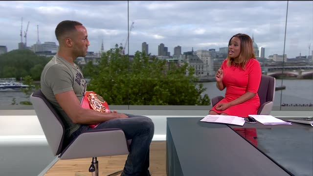 james degale becomes first british olympic gold medallist boxer to win world title england london gir int james degale live studio interview sot - world title stock videos and b-roll footage