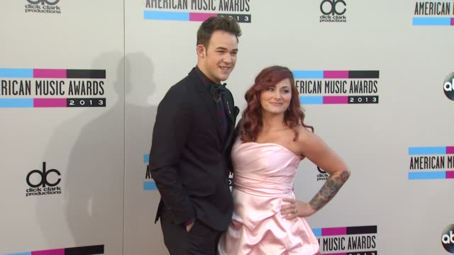 james durbin and heidi durbin arrives at the 2013 american music awards arrivals - american music awards stock videos and b-roll footage