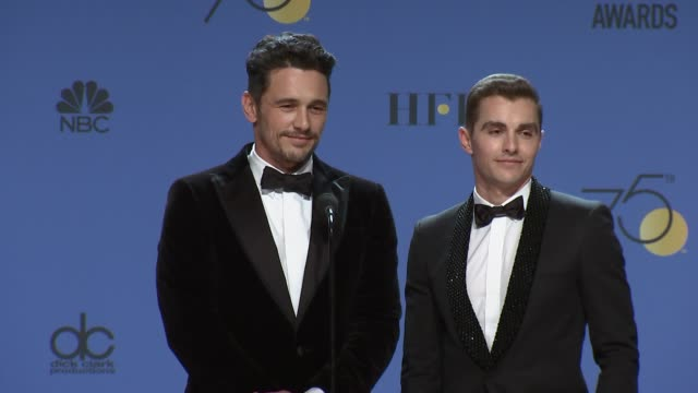 SPEECH James Franco and Dave Franco at the 75th Annual Golden Globe Awards Press Room at The Beverly Hilton Hotel on January 07 2018 in Beverly Hills...