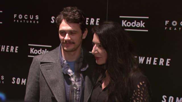 james franco and marina abramovic at the 'somewhere' special screening at new york ny - マリーナ アブラモヴィッチ点の映像素材/bロール