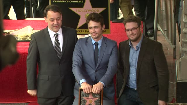 james franco seth rogen and sam raimi at james franco honored with star on the hollywood walk of fame james franco seth rogen and sam raimi at james... - seth rogen stock videos and b-roll footage