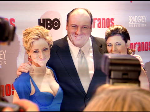 james gandolfini, edie falco and jamie-lynn sigler posing for paparazzi on red carpet - jamie lynn sigler stock videos & royalty-free footage