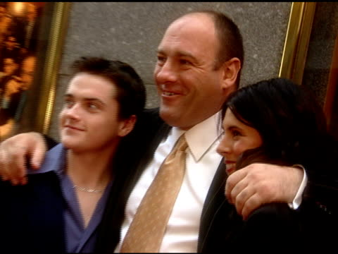 james gandolfini greets jamie-lynn sigler with hug and kiss; robert iler, gandolfini and jamie-lynn sigler pose for paparazzi on red carpet- aida... - jamie lynn sigler stock videos & royalty-free footage