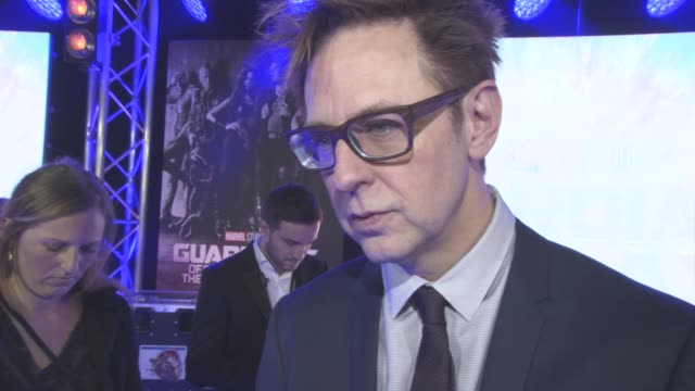INTERVIEW James Gunn on the characters looking themselves as rock stars Baby Groot taking over there world the sound track at The European Gala of...