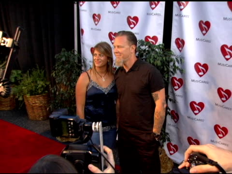 james hetfield of metallica and wife francesca at the 2nd annual musicares map fund benefit concert at the henry fonda theater in hollywood,... - メタリカ点の映像素材/bロール