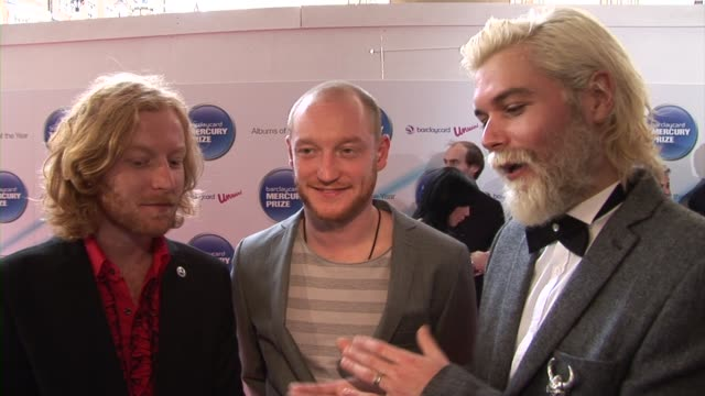james johnston simon neil ben johnston of biffy clyro on being a rock band being nominated at the barclaycard mercury prize arrivals at london england - モダンロック点の映像素材/bロール