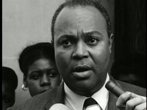 james l. farmer jr., national director of the congress of racial equality, condemns police action toward innocent bystanders during a harlem riot. - 1964 stock videos & royalty-free footage