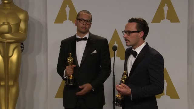 stockvideo's en b-roll-footage met speech james lucas mat kirby at 87th annual academy awards press room at dolby theatre on february 22 2015 in hollywood california - dolby theatre
