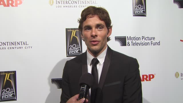 james marsden on coming out tonight to support the motion picture and television fund on if he prefers theater or film and on if he saw any shows on... - motion picture & television fund stock videos & royalty-free footage
