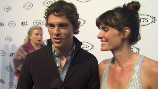 james marsden wife lisa linde on why they wanted to be a part of the evening what they appreciate about tod's the first piece of tod's they ever... - lisa linde stock videos & royalty-free footage