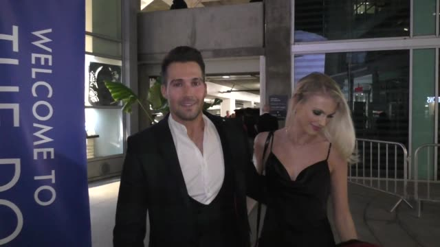 james maslow caitlin spears outside the las pildoras de mi novio premiere at arclight cinemas in hollywood in celebrity sightings in los angeles - arclight cinemas hollywood stock videos & royalty-free footage
